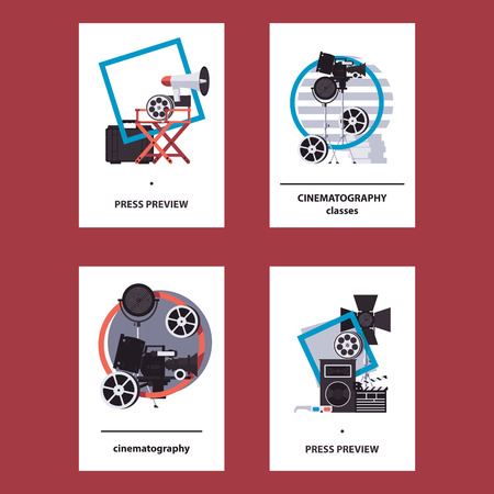 Vector collection with vertical cards and flyers templates on white background dedicated to cinema production, filming professionals and backstage. Directors chair, bobbin for press preview and expo. Ilustração