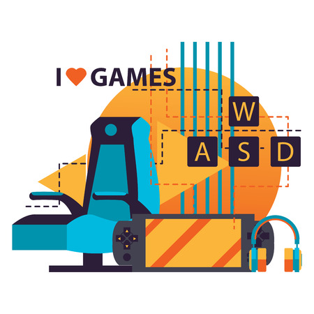Isolated on white background illustration with video game accessories as player chair, gamepad, wasd keyboard and headphones, lettering I love games in bright colors.