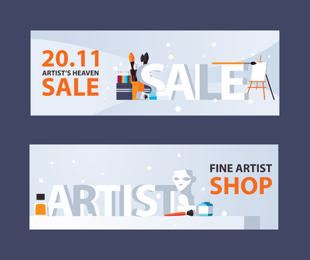 Horizontal banners with artist supplies and drawing stationery, large 3d words sale and artist, good for art shop and store.