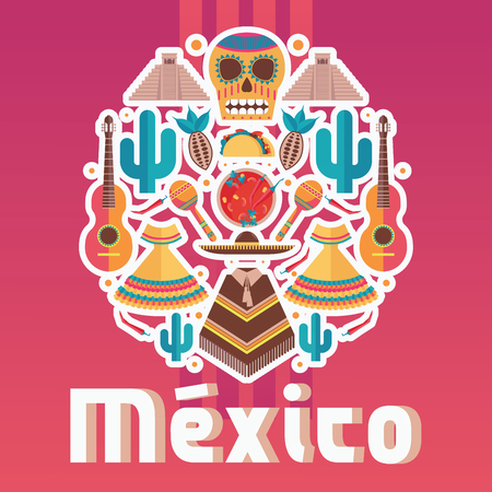 Square composition with mexican fiesta elements, good for decoration, flyer and poster. Vector Illustration