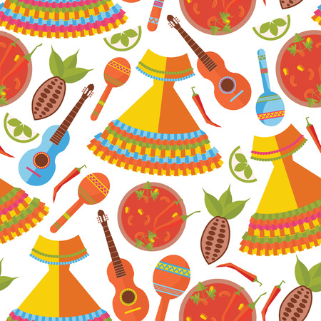 Seamless pattern on white background. Mexican traditional dress and food, musical instruments