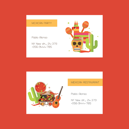 Vector business cards with mexican food ond clothes, pinata on white background