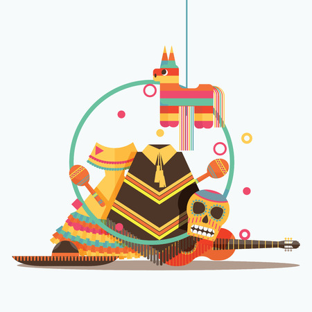 Vector isolated on white composition with mexican goods like sombrero, guitar, pinata, scull, poncho and maracas.