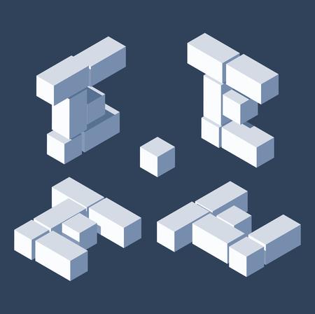 변형 보기의 아이소메트릭 문자 E. 3D 블록과 큐브로 만들었습니다. 벡터 (일러스트)