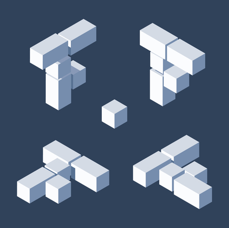 Isometric letters F in varions views. Made with 3d blocks and cubes.