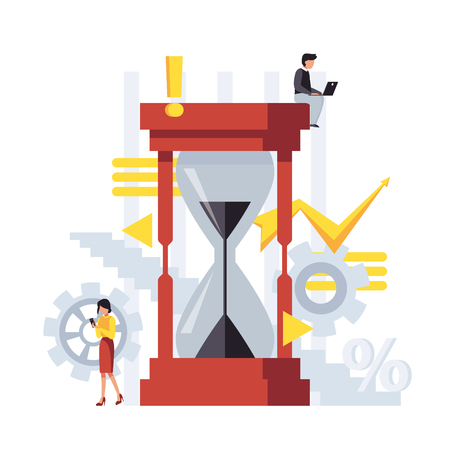 Vector business illustration with hourglass and gears, businessman and businesswoman thinking about time. Flat scene.