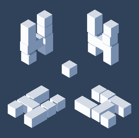 Isometric letters H in varions views. Made with 3d blocks and cubes.