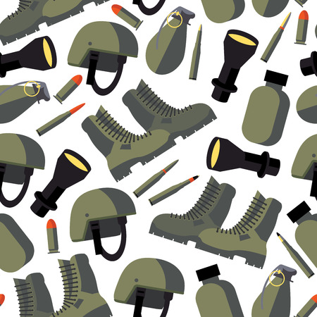 Vector seamless pattern with flat army goods like helmet, flask, flashlight, military boots and bullets on white background. Flat objects design.
