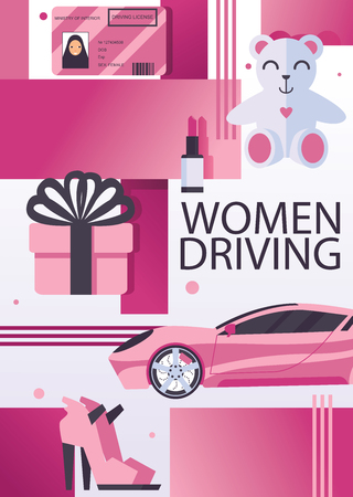 Vector poster of flyer for celebrating saudi woman driving cars. Ink shoes, driving licence, teddy bear and sport car.