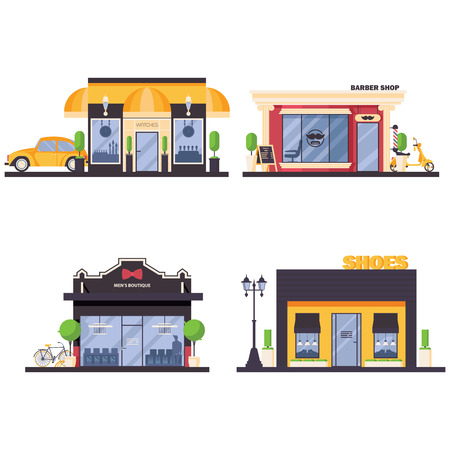 Vector set with city shops for modern men fashion, like male watches, barber shop, male boutique and shoes store. Flat collection