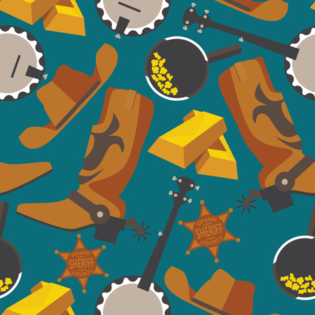 Wild west objects for gold rush or cowboy in seamless pattern on blue background. Flat boots, gold bar, puncher hat, banjo
