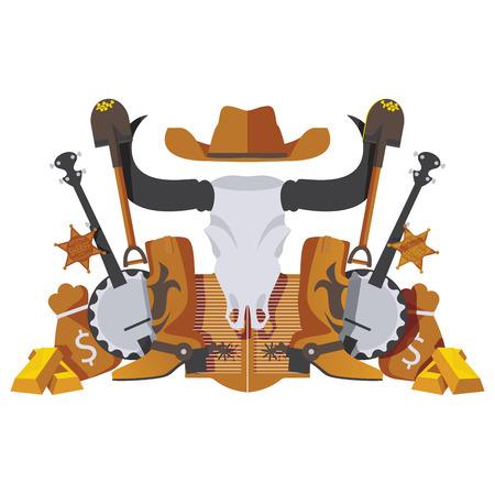 Scène symétrique vectorielle avec des objets de cow-boy du Far West comme la godille, l'argent, les marchandises de la ruée vers l'or, les bottes et le banjo isolés sur blanc.