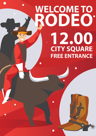 Vertical rodeo poster on red background. Flat bull and man riding.