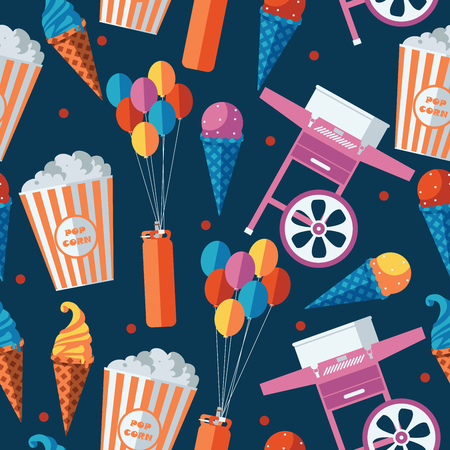Festive food and sweets seamless pattern. Icecream, popcorn, cotton candy machine, baloons equipment. Repeat design for amusement park, food truck or traveling circus.