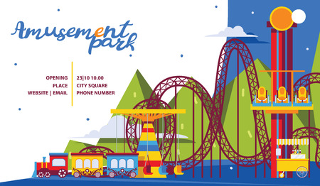 Amusement park poster template. Flat attractions and carousel for family time.