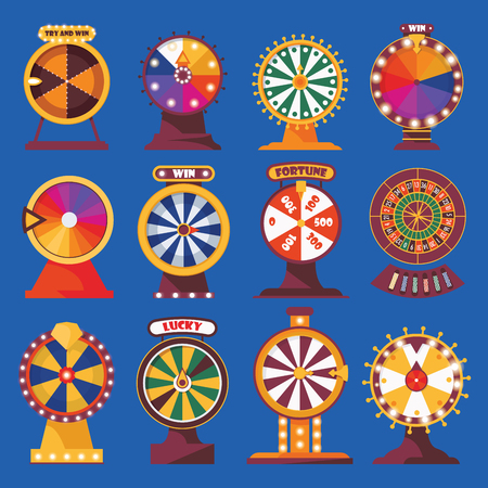 Wheels of fortune set. Vivid flat objects with words try and win, lucky. Spinning game and bet money roulette on blue color.