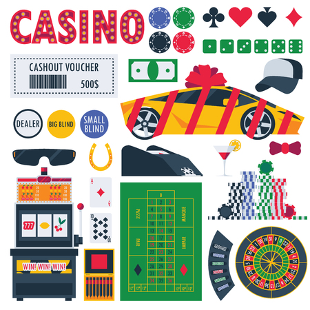 Isolated on white casino equipment as gambling roulette, pocker table, prizes as car and money. Bet games objects. Illustration