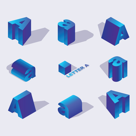 Russian and English Isometric alphabet font, letter A. 3d effect letters, foreshortening with flat shadows.. Stock vector typeface for any typography design. Blue 3d letters Illustration