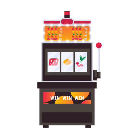 Isolated on white vector flat illustration with slot machine in bright colors. Gambling object Иллюстрация