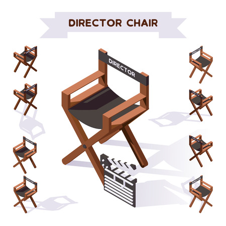 Vector 3d illustration with director chair making movie in isometric style. Various foreshortening, shadows. Backstage filming collection.