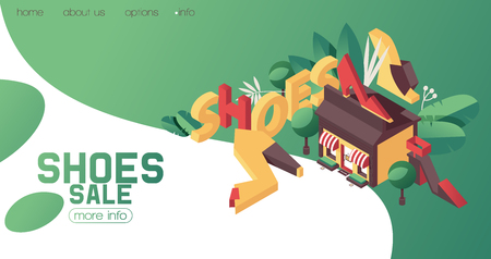 Shoes shop or boutique banner, can be used as booklet or ad template. bright gradients, greenery and flat women heels is isometric view. Footwear sale advertising for fashion mall