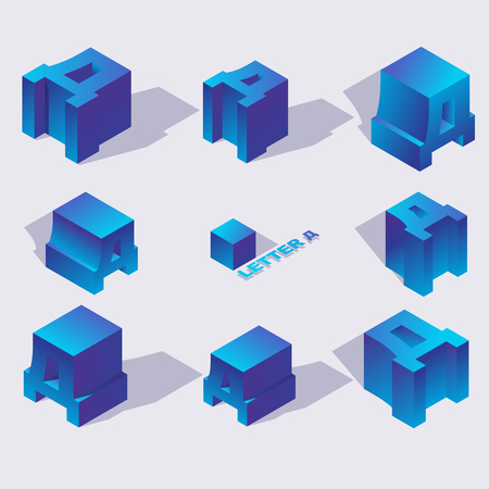 Isometric alphabet font russian letter D. 3d effect letters, various foreshortening with flat shadows. Stock vector typeface for any typography design. Blue 3d letters