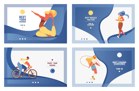 Vector set of blue sport banners with girl doing cardio exersises and yoga. Vivid gradients and lovely young characters in oversized weight in contemporary style.