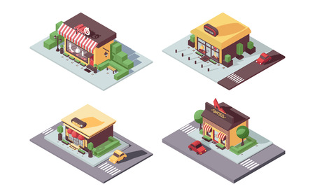 Isometric small business shops concept. Atelier, women dress and shoes boutique, jewelry in 3d, with shadows and greenery, integrated in city landscape. Vector concept illustration.