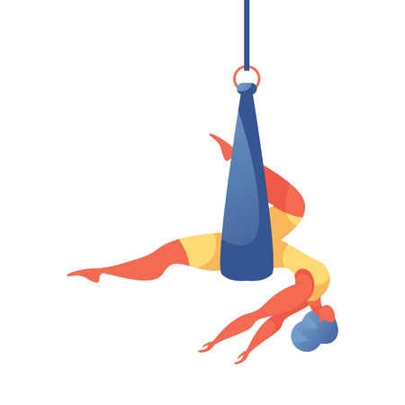 Illustration de concept de vecteur avec une jeune femme surdimensionnée faisant du yoga aérien en soie dans un hamac ou un ruban. Bien-être isolé sur une fille acrobatique blanche dans un style plat contemporain. Mains lâchées, tête baissée