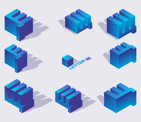 Collection of russian cyrillic letters shcha in isometric style. 3d set in blue gradients with shadows.