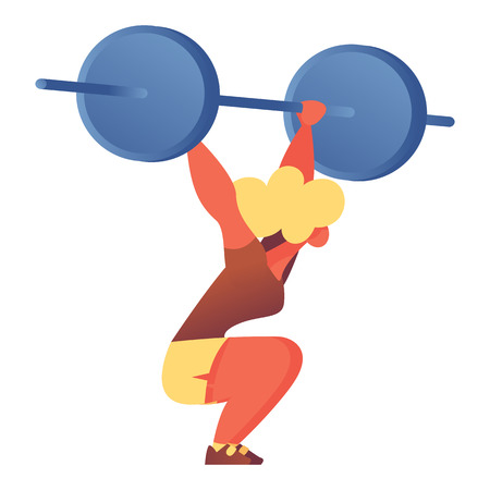 Flat character with barbell lifting it over head. Isolated on white vector illustration good for bodybuilders, gym and weight training design. Illustration