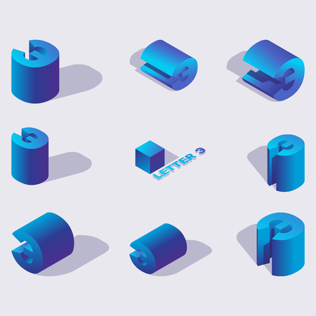 Russian isometric alphabet font, cyrillic letter E or backwards e. 3d effect letters, various foreshortening with flat shadows. Stock vector typeface for typography design. Blue 3d letters Vectores