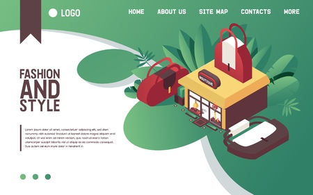 Vector concept illustration with woman bags and clothes boutique building in isometric style. Fashion landing page good for web site design in bright gradients with large purses and greenery.