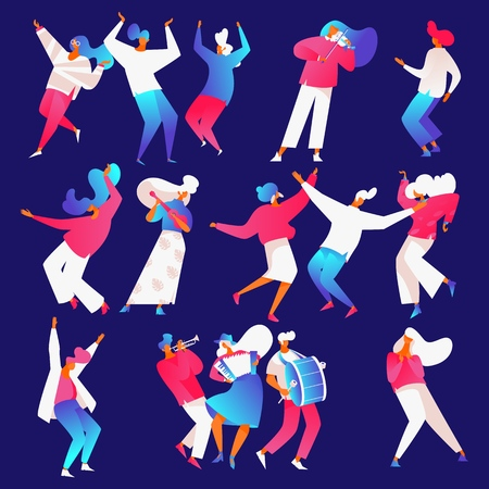 Isolated on blue backround dancing and playing musical instruments people in bright gradients in flat contemporary style.