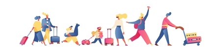 Flat people going on vacation, isolated on white. Families and kids, parents ans couples walking with luggage and trolley. Bright passengers ready for flight ot travel.