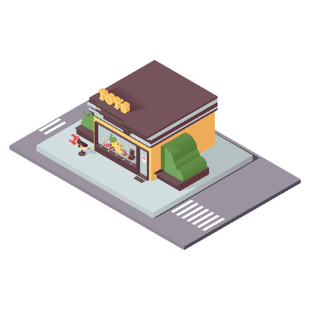 Isolated on white kids toys store in isometric style. 3d concept illustration for small business and department store.
