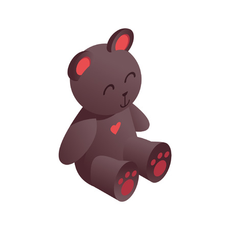 Cute isometric teddy bear drawn with vivid brown gradients, with pink heart on breast. 3d toy for kids playing store.