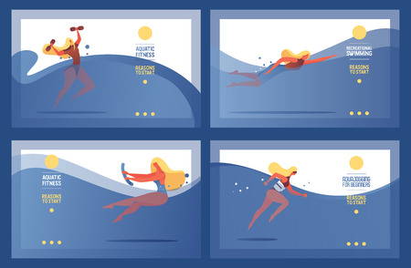 Collection of horizontal vector sport banners good for pool courses, classes and swimming studio. Cardio training women in blue waves.