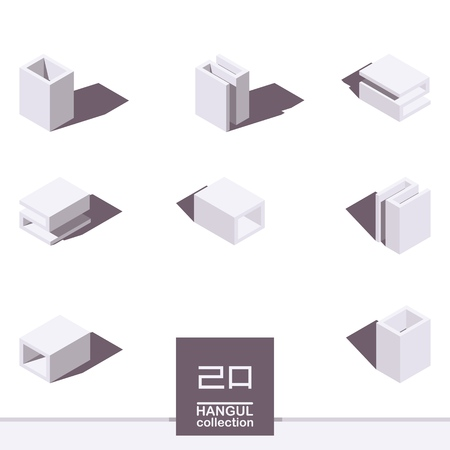 Vector isometric collection with hangul elements. Letters M and L or R of korean alphabet in shades of white color. Various foreshortening and top views.