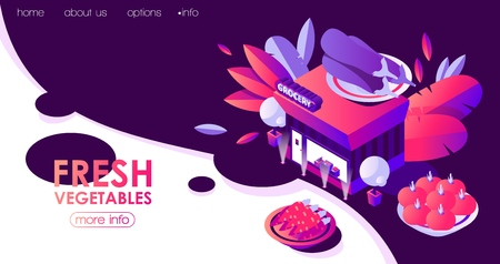 Landing page template with isometric grocery building. Night scene with fresh vegetables.
