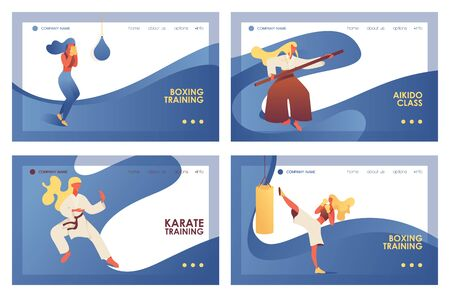 Vector concept banners with fight girls and young women doing martial arts training. Boxing, kickboxing, aikido and karate exercise on landing pages with blue waves.