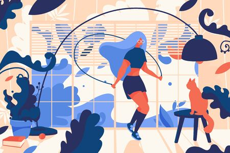 Young woman jumpink with skipping rope inside house full of greenery. Cat, sunset and book. Vivid concept illustration, good for web design and print. Illustration