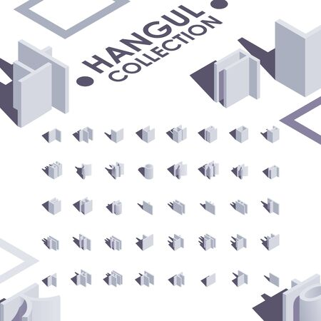 Hangul isometric font collection, good for creating quotes, writing logo and design.