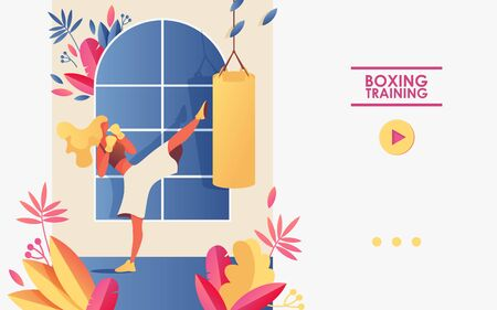 Vector concept illustration for gym or boxing or kickboxing courses and school. Template good for landing page and banner of web site with young girl kicking bag, decorated with greenery.