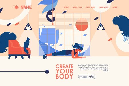 Vector concept banner for home training or garage gym in flat style with woman doing plank exercise. Bright landing page template in blue and orange colors. Large window, cat on chair.