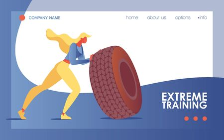 Young woman doing extreme training exercise with large tire. Sport landing page or banner good for gym and bodybuilding class or studio with blue wave.