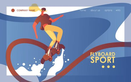 Concept banner template with young woman riding flyboard. Vector landing page with rider good for sea sport activities and extremesport clubs. Horizontal design blue wave and flat bright character.