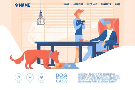 Concept banner good for dog friendly cafe or restaurant drawn with bright orange and blue. Puppy eating from bowl, waiter takes order from client, interior scene in flat style