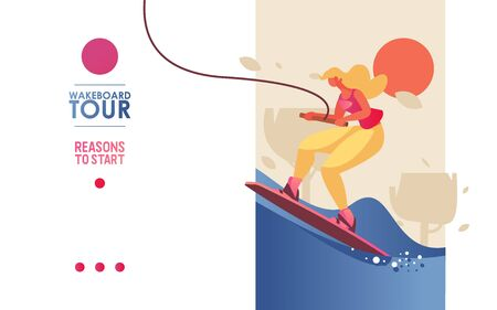 Concept vector landing page or banner template with young woman riding board on wakeboard tour. Bright colors, trees and blue waves of lake or sea, good for extreme water sports school. Banque d'images - 132218239