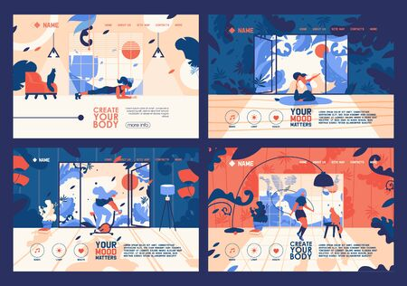 Vector banners collection with young flat women training at home. Vibrant orange and blue colors, floral elements and leaves, large windows at room. Landing pages for indoor workout, yoga, exercise Reklamní fotografie - 132217311